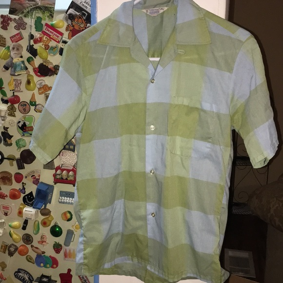 Vintage 50s Penney/'s Brown Loop Collar Shirt Large Tall
